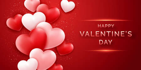 Valentines Day horizontal vector banner with shining pink and red and confetti. Holiday card illustration on red background