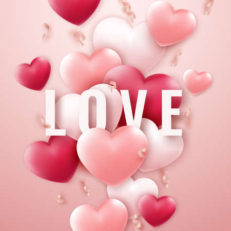 Valentines Day vector background with red and pink hearts, ribbons. Holiday card illustration on light background
