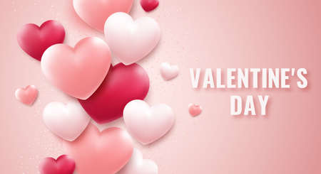 Valentines Day vector background with red and pink hearts, confetti. Holiday card illustration on light background
