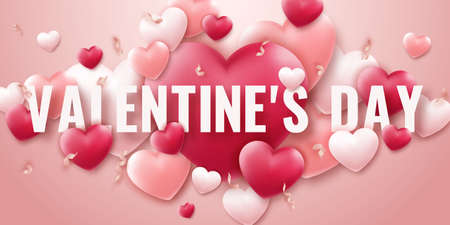 Valentines Day vector background with red and pink hearts, ribbons and text. Holiday card illustration on light background