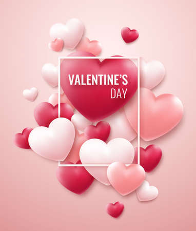 Valentines Day vector background with red, pink hearts and frame for text. Holiday card illustration on light background Illustration