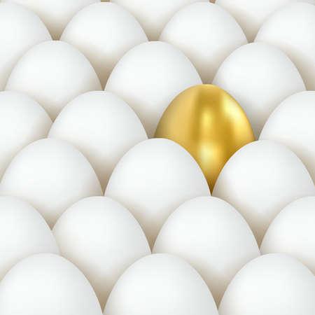 3d vector golden and white eggs. Eggs concept. Golden Egg Among White Eggs Ilustração