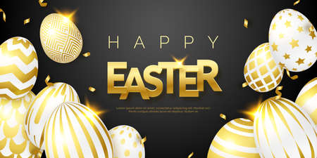 Easter black background with realistic golden decorated eggs, text and ribbons. Vector shiny illustration greeting card, poster, flyer, banner