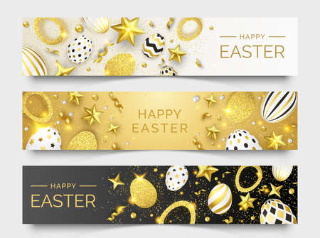 Three Easter horizontal banners with realistic golden decorated eggs, ribbons, stars and colorful balls. Easter card illustration on light and dark background. Vector illustration greeting card, poster, flyer, banner