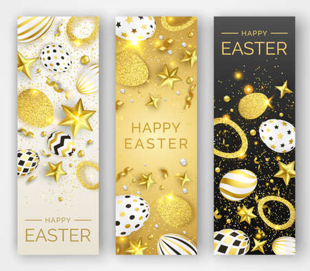 Three Easter vertical banners with realistic golden decorated eggs, ribbons, stars and colorful balls. Easter card illustration on light and dark background. Vector illustration greeting card, poster, flyer, banner Illustration