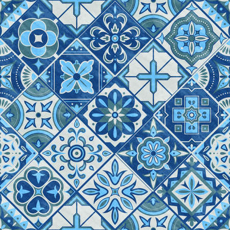 Seamless romb patchwork tile in blue, gray and green colors. Vintage ceramic tiles vector illustration. Floor seamless design texture set. Tiles traditional mosaic, texture decoration vector tile pattern Illustration