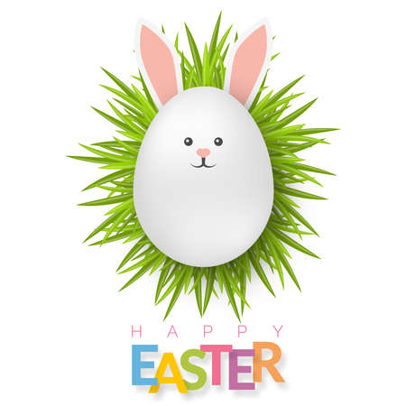 Easter background with 3d white egg on green grass with bunny face. Cute vector easter banner, poster, flyer or greeting card Illustration