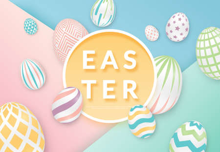 Easter background with 3d ornate eggs with circle frame. Illustration in soft colors. Cute vector easter banner, poster, flyer or greeting card