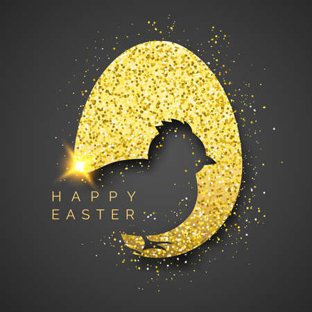 Easter black background with realistic golden egg, confetti, chick silhouette and text. Vector shiny illustration greeting card, poster, flyer, banner