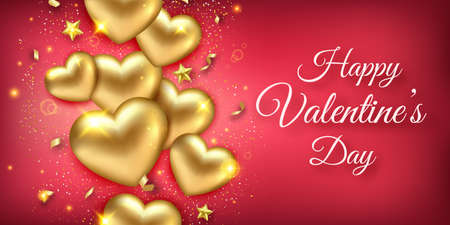 Valentines Day horizontal vector banner with shining golden hearts, ribbons, stars and confetti. Holiday card illustration on red background