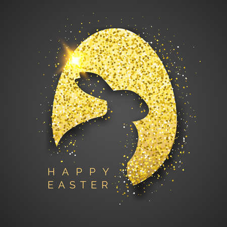 Easter black background with realistic golden egg, confetti, bunny silhouette and text. Vector shiny illustration greeting card, poster, flyer, banner