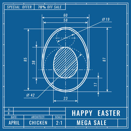 Blueprints concept of easter egg. Mechanical engineering drawings. Technical Design. Easter vector banner, cover, poster, flyer or greeting card