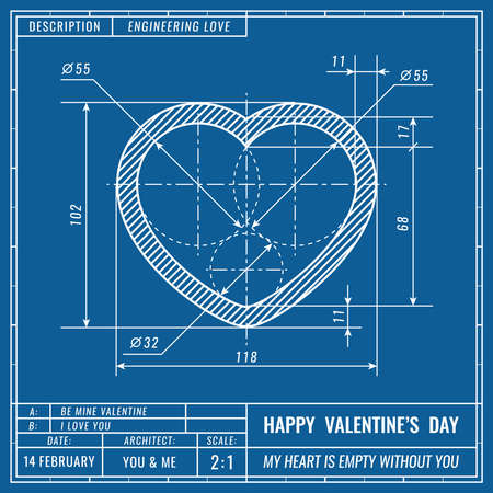 Heart sign as technical blueprint drawing. Valentines day technical concept. Mechanical engineering drawings. Valentines day vector banner, cover, poster, flyer or greeting card