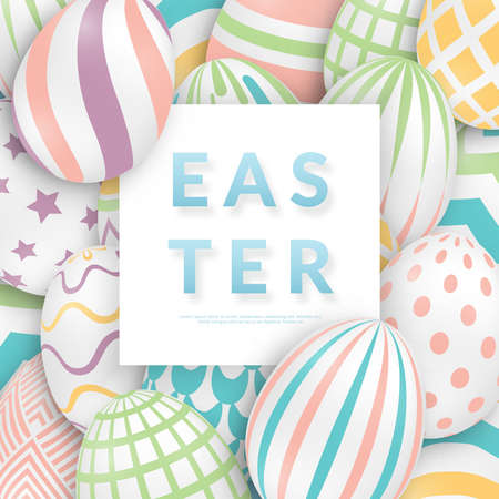 Easter background with 3d ornate eggs, text and frame. Illustration in soft colors. Cute vector easter banner, poster, flyer or greeting card