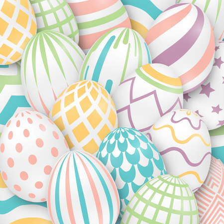 Easter background with 3d ornate eggs. Illustration in soft colors. Cute vector easter banner, poster, flyer or greeting card