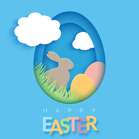 Easter card with paper cut egg shape frame. Happy Easter paper cut out egg on blue background. Trendy vector 3D Easter greeting card template with rabbit, grass and eggs Ilustracja