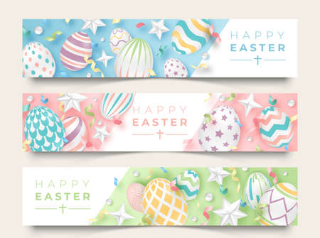 Three Easter horizontal banners with realistic decorated eggs, ribbons, stars and balls. Illustration in soft colors. Easter vector card illustration on light background  イラスト・ベクター素材