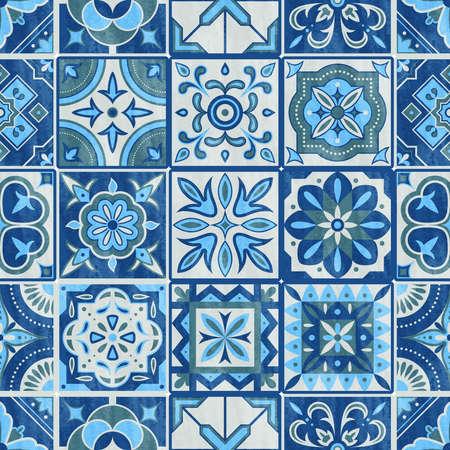 Tuile de patchwork sans couture dans les couleurs bleu, gris et vert. Illustration vectorielle de carreaux de céramique vintage. Ensemble de texture de conception sans couture de sol. Mosaïque traditionnelle de tuiles, modèle de tuile de vecteur de décoration de texture