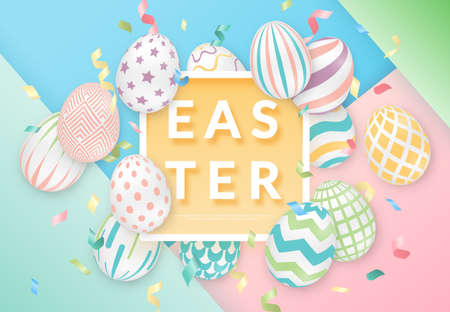 Easter background with 3d ornate eggs, text, ribbons and frame. Illustration in soft colors. Cute vector easter banner, poster, flyer or greeting card