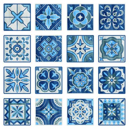 Patchwork tile in blue, gray and green colors. Vintage ceramic tiles vector illustration. Floor design texture set. Tiles traditional mosaic, texture decoration vector tile pattern