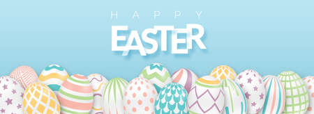 Easter background with text and 3d ornate eggs. Illustration in soft colors. Cute vector easter banner, poster, flyer or greeting card