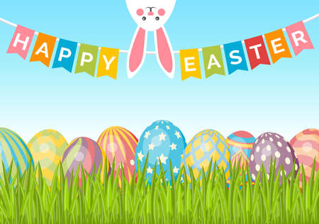 Easter vector background with eggs on green grass, bunny and flags. Cute easter banner, poster, flyer or greeting card