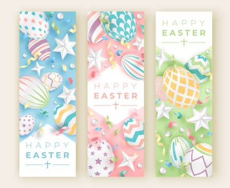 Three Easter vertical banners with realistic decorated eggs, ribbons, stars and balls. Illustration in soft colors. Easter vector card illustration on light background