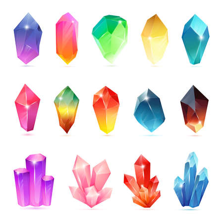 Colorful assorted crystals set. Crystalline vector gemstone. Magic semiprecious stones collection. Set of jewel or mineral stony crystallization of natural quartz