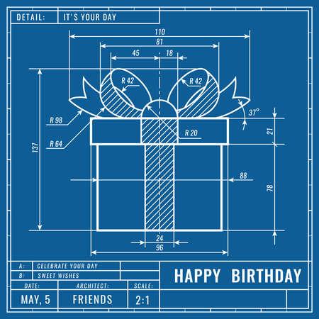 Geschenkbox als technische Blaupausenzeichnung. Geburtstag technisches Konzept. Maschinenbauzeichnungen. Grußvektorbanner, Cover, Poster, Flyer oder Karte fly