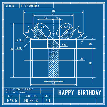 Gift box as technical blueprint drawing. Birthday technical concept. Mechanical engineering drawings. Greeting vector banner, cover, poster, flyer or card