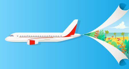 Flat vector banner on the theme of travel by airplane, vacation, adventure. Private airlines, transportation. A flying plane that divide sky into two parts