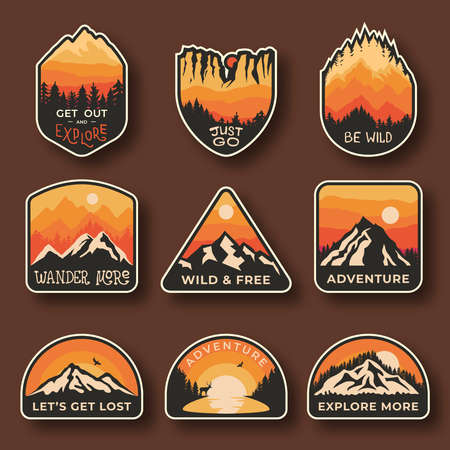 Set of nine mountain travel emblems. Camping outdoor adventure emblems, badges and  patches. Mountain tourism, hiking. Nature labels in vintage style 矢量图像