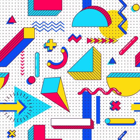 Modèle de memphis sans couture. Éléments abstraits des tendances des années 90 avec des formes géométriques simples multicolores. Formes avec des triangles, des cercles, des lignes