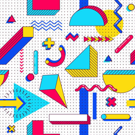 Seamless memphis pattern. Abstract 90s trends elements with multicolored simple geometric shapes. Shapes with triangles, circles, lines