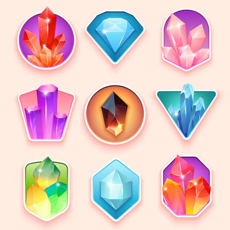 Colorful badges with crystals. Crystalline gemstone. Magic semi precious stones collection. Set of jewel or mineral stony crystallization of natural quartz