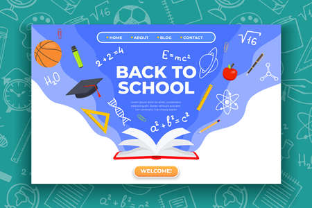 Back to school banner. Book, basketball ball, pen and school supplies on colorful background. Back to school education concept