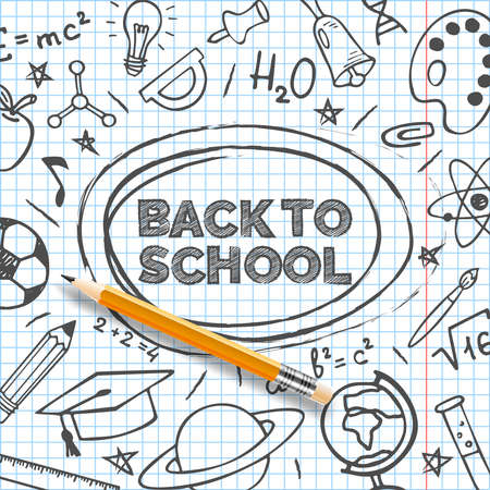Back to school banner template. Hand drawn educational supplies on list sheet and a pencil