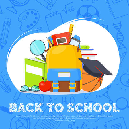 Back to school vector banner. Backpack, basketball ball, pen and school supplies on colorful background. Back to school education concept