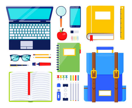 Education elements vector illustration. School stationery and supplies. Illustration of ruler and backpack, pen and glasses, books and notebook
