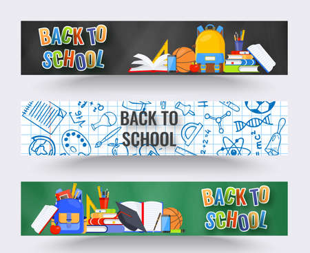 Three horizontal back to school banners. Backpack, basketball ball, pen and school supplies on colorful background. Back to school vector education concept Çizim