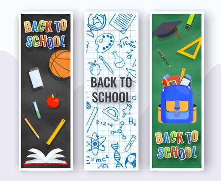 Three vertical back to school banners. Backpack, basketball ball, pen and school supplies on colorful background. Back to school vector education concept