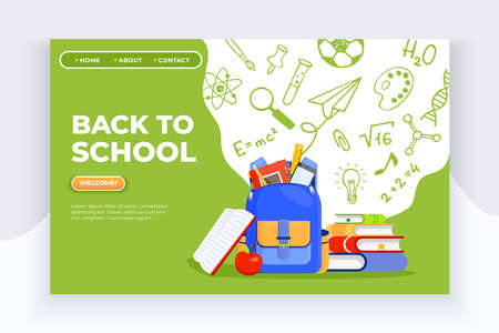 Back to school banner. Backpack, apple, books and school supplies on colorful background. Back to school vector education concept