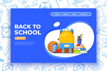 Back to school banner. Backpack, basketball ball, pen and school supplies on colorful background. Back to school vector education concept