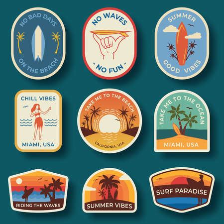 Set of nine beach vector badges. Hand drawn palm trees and beach elements in retro style. Summer labels, badges and icons
