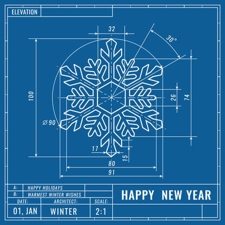 Snowflake as technical blueprint drawing. Christmas technical concept. Mechanical engineering drawings. Christmas and new year banner, cover, poster, flyer or greeting vector card