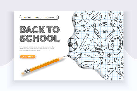 Back to school banner. Hand drawn educational supplies on list sheet and a pencil. Back to school education vector concept Stok Fotoğraf
