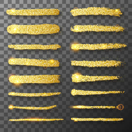 Gold glitter hand drawn paint brush strokes. Glitter vector texture. Gold sparkles. Grunge golden brush paint strokes