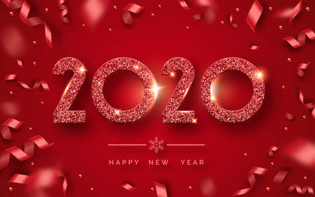 Happy New Year 2020. Background with shining numerals and ribbons. New year and Christmas card illustration on red background. Holiday illustration of red textured numbers 2020 Ilustracja
