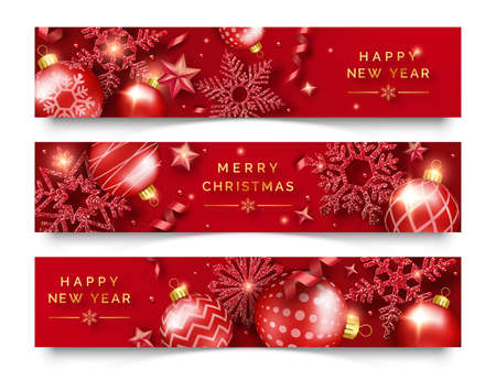 Three Christmas horizontal banners with shining snowflakes, ribbons, stars and colorful balls. New year and Christmas card illustration on red background Çizim