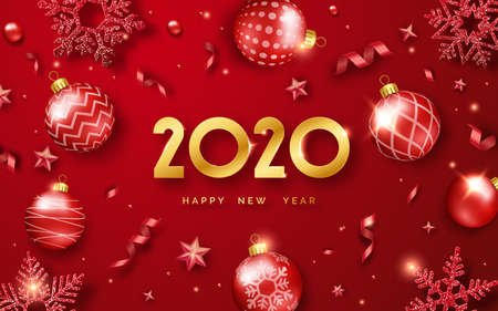 Happy New Year 2020. Background with shining numerals and ribbons. New year and Christmas card illustration on red background. Holiday illustration of golden numbers 2020